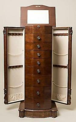Jewelry Storage Cabinet Armoire Necklace Chest Wood Drawer BoxAntiqueWalnut