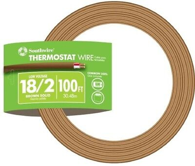 Southwire 100 ft. 18/2 Brown Solid CU Thermostat Wire Heating and air Controls