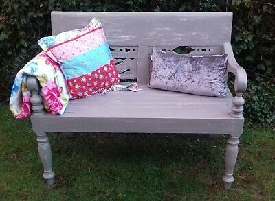 vintage bench monks settle solid wood painted in annie sloan french linen