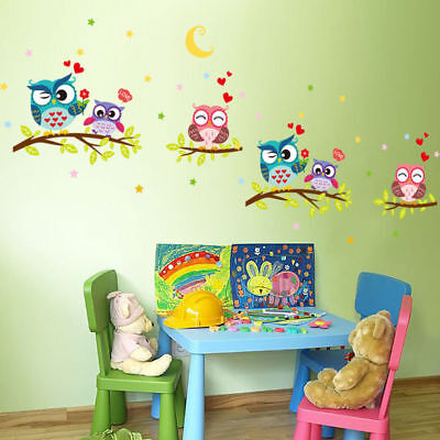 Owl Tree Branch Removable Wall Sticker Home Kids Baby Nursery Cute Mural Decal