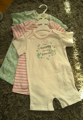 BNWT Marks & Spancers M&S 3 baby girls romper set 12-18 mths New I LOVE MUMMY