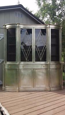 Large Antique Art Deco Real Silver Leaf Solid Wood China Cabinet w/ Paned Glass
