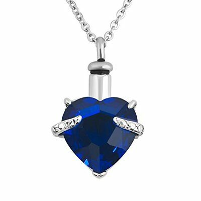 Urn Necklaces For Ashes Blue Cremation Jewelry Heart Memorial Keepsake Holder...