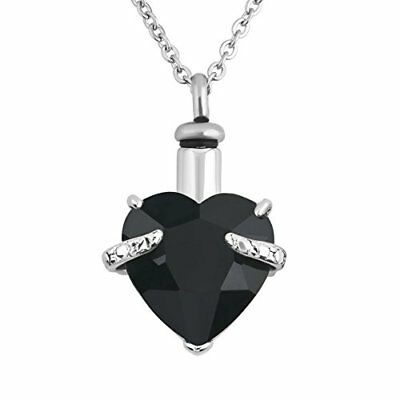 Urn Necklaces For Ashes Black Cremation Jewelry Heart Memorial Keepsake Holde...