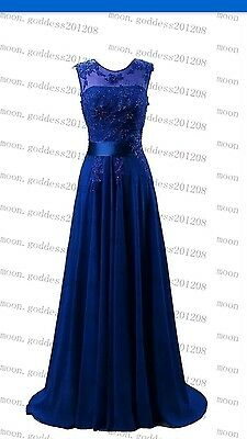 Long Chiffon Lace Evening Formal Party Ball Gown Prom Bridesmaid Dress Size 10