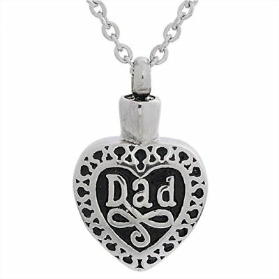 "AMIST ""Dad in Heart"" Cremation Urn Pendant for Loved Ones Ashes With Cross Ch..."