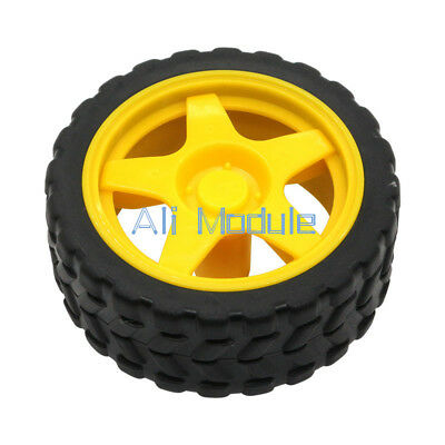 Small Smart Car Model Robot Plastic Tire Wheel 65x26mm For Arduino New