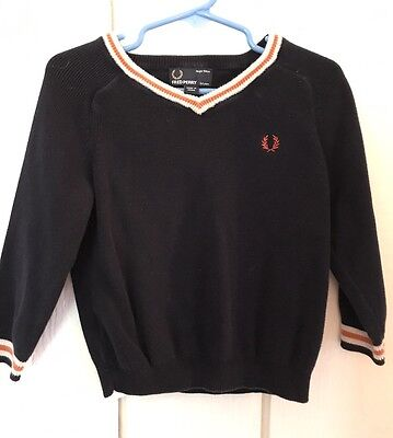 Boys Sweater 4 3. Navy Blue V Neck Sweater Fred  Perry Fall
