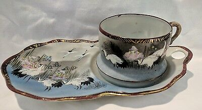 Antique Japanese Hand Painted Tennis Set. Early 1900s Japanese Ceramics