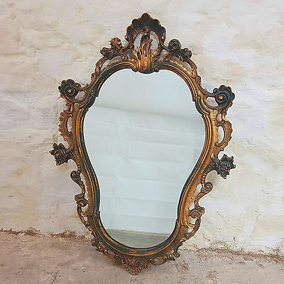 Rococo Style Gilt Framed Oval Wall Mirror - 3ft x 2ft (Antique)