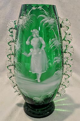 Genuine Antique Mary Gregory Glass Vase with applied ruffle decoration. C1890s