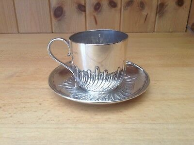Antique Solid Sterling Silver London 1890 Cup & Saucer