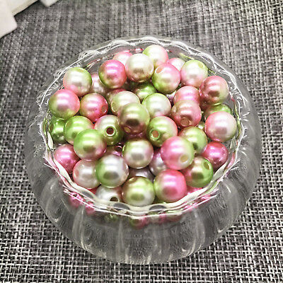 NEW 8MM 50PCS Round Pearl Spacer Loose Beads Colour Acrylic Jewelry Making #01