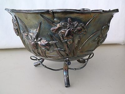 Japanese Meiji Period Kuhn & Komor  Sterling Silver Handcrafted Footed Bowl
