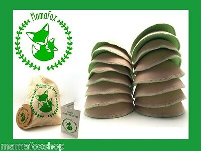 16 x MamaFox Contoured Nursing Breast Pads Bamboo Reusable Maternity + carry bag