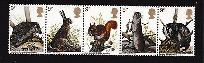 Mint 1977 Gb British Wildlife Stamp Strip Of 5 Muh - Hare, Squirrel,hedgehog,ott