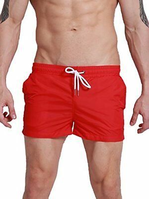 Neleus Mens Athletic Beach Shorts with Pockets,801,Red,S+,Asia Tag L