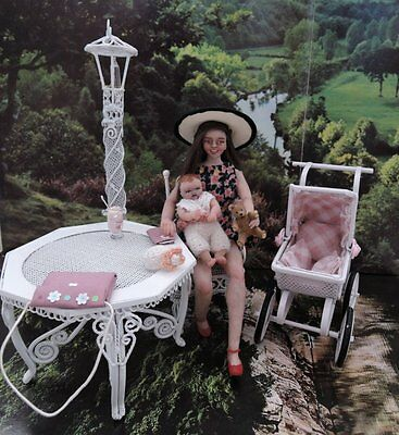 Miniature OOAK Handmade 1/12 scale dollhouse realistic mom and baby doll 1:12