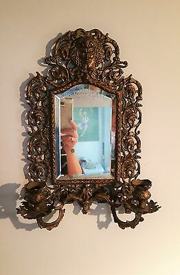 Antique France Style Gold Gilt wall Mirror with 2 Candle Sconces