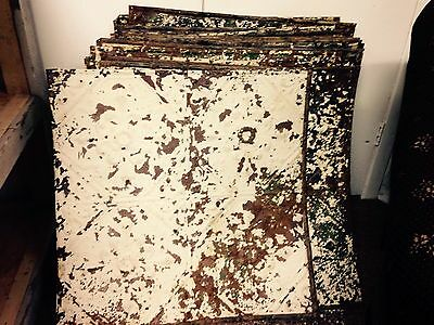 "Lot of 45+ 24""x 24"" antique tin ceiling tiles reclaimed 180+ square feet"