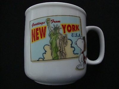 Snoopy Ceramic Mug and Lid New York U.S.A. (NEW)