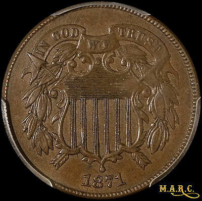 1871 MS62BN PCGS 2C Two Cent Piece with Nice Details, Even Color! Free Shipping!
