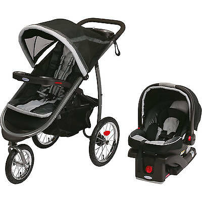 Graco FastAction Fold Jogger Click Connect Travel System Jogging Stroller, Gotha