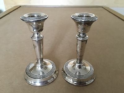 Antique Pair Solid Sterling Silver Candlesticks Art Deco Style London 1901