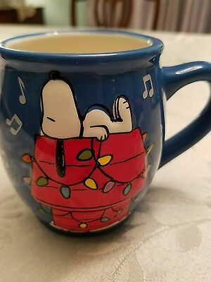 Snoopy Laying Down On Doghouse Christmas Holiday Lights Blue  3D Mug Coffee Cup
