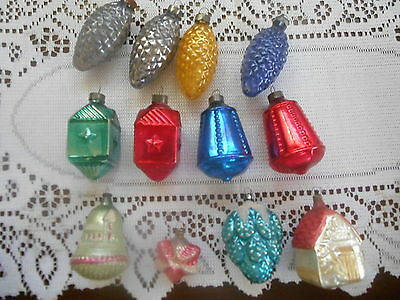 12 Antique/vintage Christmas  Ornaments 8 U S Of A Pine Cones,bells Lanterns & 4