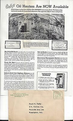 ca. 1940s Lord & Burnham Co. Orlyt Oil Heater Advertisement and Cover