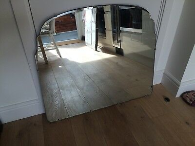 Large Antique Beveled Art Deco Style Over Mantle Hanging Wall Mirror