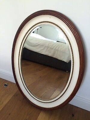 Antique Victorian Large Oval Mirror Painted Off White