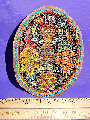 """Huichol Indian Prayer Bowl with Corn God from Tepic Nayarit Mexico 4"""" across"""