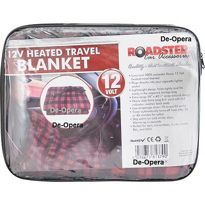 Luxurious Polyester Fleece 12V Heated Travel Blanket, PVC Bag + Colour Header
