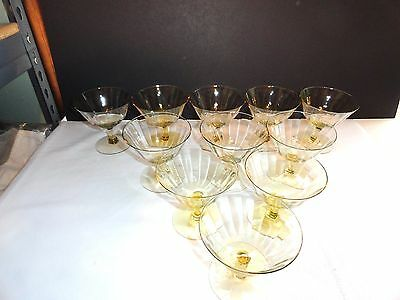 Set Of 8 Yellow Depression Glass Dessert~Berry~Sherbet Dishes~Mint Condition