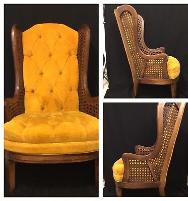 Vintage Lewitts Furniture Tufted Velvet Cane Wingback Chair Hollywood Gold
