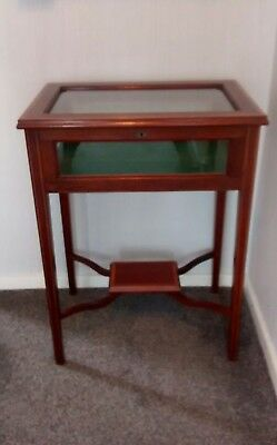 Antique Vintage Mahogany Bijouterie Glass Display Case Cabinet Table