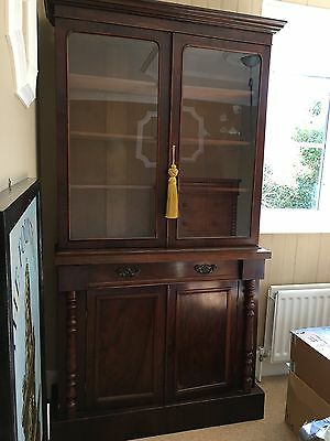 Antique Victorian Mahogany Glazed Bookcase Chiffonier c1860
