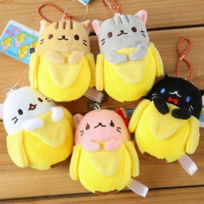 5pc Kawaii Hidden In Banana Cat Plush Toys Cartoon Cat Tag Handbag Backpack Tags