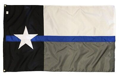 Thin Blue Line Nylon 3x5 Police Texas Flag with Grommets Made in the USA