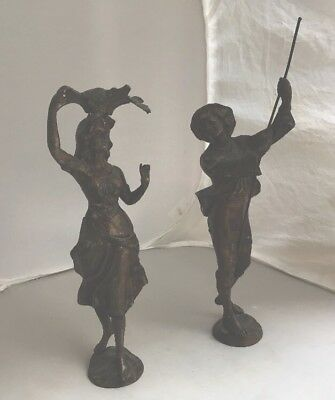 Pair Old French Art Nouveau Spelter Figures