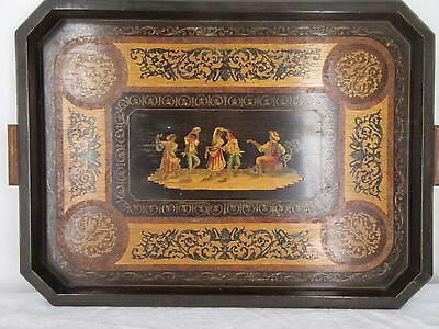 Vintage Italian wooden Marquetry Tray Peasants Dancing Ornate inlaid detail