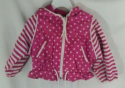 Vintage Toddler Rain Wind Breaker Pink Stripes & Polka Dots Size 2 Windy Trail
