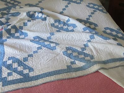 Pretty and Cozy Antique Vintage Blue and White Jacobs Ladder Quilt 52X83 cutter?