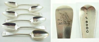 Set of 6 Antique Georgian Sterling Silver Old English Serving Spoons 1814-15