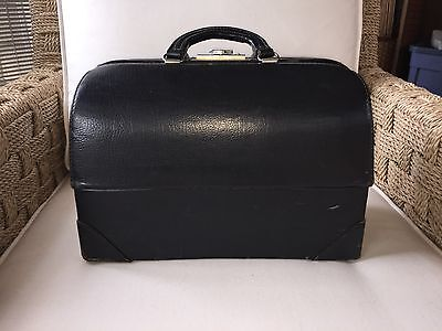 Antique Vintage Schell Emdee Doctor's Bag Black Leather Excellent Condition