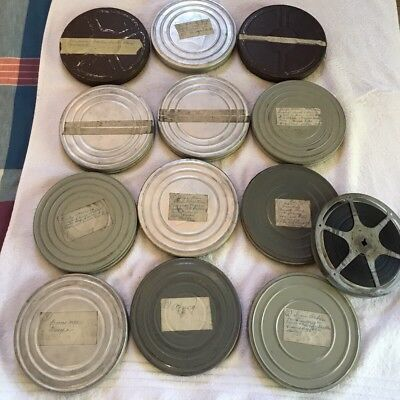 Vintage Lot Of 13 16mm Home Movies With Metal Case Montana Africa New York Euro…