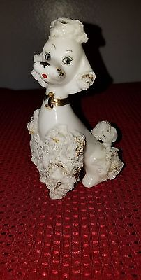 Vintage 1950's White Spaghetti Poodle with Gold Trim