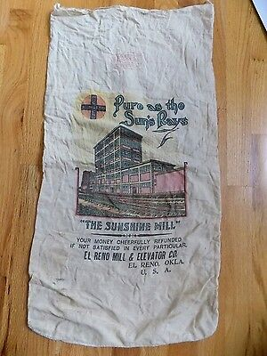 "Rare Double-Sided El Reno Mill & Elevator Co ""Humreno"" 48lb Adver Flour Sack..OK"